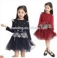 2015 últimas das meninas vestido vestido da menina flor crianças outono de manga comprida vestidos de renda