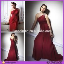 Turkish One Shoulder Long Red Chiffon Maxi Evening Dresses China