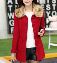 big fur collar long coat pocket coat LM55-1