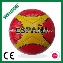 Espana design machine sewn red shiny PVC soccer ball