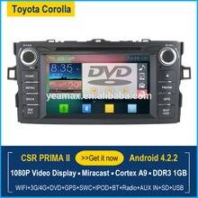 Toyota corolla car dvd player with bluetooth gps navigation wifi 3G FM radio MP3 MP4