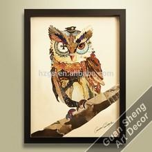 creative hand painted wall hanging owl wild animal art picture of hangzhou guansheng