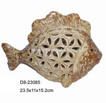 Ceramic pierced fish ornament