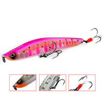 Pink pencil lure baits feather three treble hooks fishing tackle