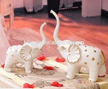 ceramic white elephant figurine golden painting
