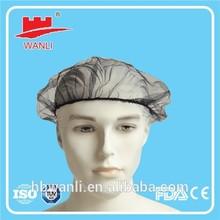 Breathable Black disposable nylon food industry hairnet mesh cap