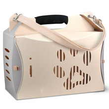 Ivory white color pet carries with plastic material for outdoor