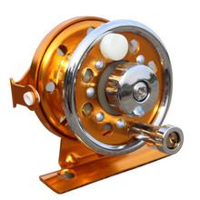 wholesale golden metal fishing reel special mini reel wheel rotation round ice fishing gear