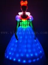 Full color led-light-dress,stage led dress battery,led princess dress for stage show