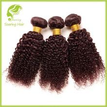 alibaba certified 6a kinky curly remy hair weaving 99j