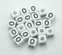 DIY Jewelry Kits Plastic Square Alphabet Beads Single Letter Beads O