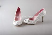 BS892 custom handmade ivory lace rhinestones bridal wedding shoes dress shoes party shoes