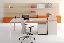 Slim legs with lockers modern office table with stainless steel legs HX-CL001