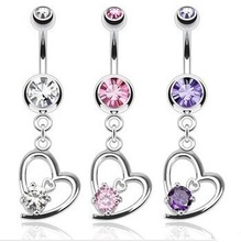 316L Stainless Steel Hollow Heart Prong Set CZ Gem Personalized Dangle Navel Piercing Channel