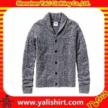 2015 custom high quality comfortable cotton blank fashion mens thick cardigan winter sweater