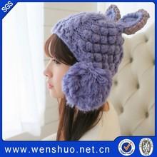 Korean Style New Double Layers Cat Ears Handmade Crochet Wool Winter Hat Wholesale