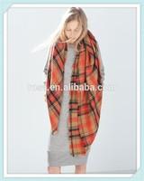 RWT1113 2014 classsic chequer jacquard long scarf european fashion winter shawl scarf