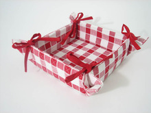 Cotton Bread Basket for Promotion and gift basket for storage plaid pattern customized Logo available basket -5