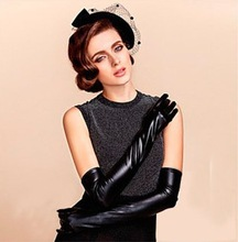 Newest Design Black PU Coating Fabric Long Gloves Glow Full Finger Ultra Elastic Weding Gloves Sexy Close Fitting Satin Gloves