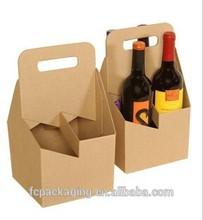 4 Pack Kraft Cardboard Wine Bottle Carrier