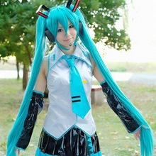 Japanese hatsune miku cosplay wig,cheap long blue synthetic cosplay wig