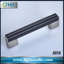 Popular high quality black leather pull handles for furniture