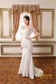 Elegante nupcial desgaste! Lantejoulas deslumbrante transparente fios manga curta sexy vestido de noiva sereia estilo hermético de alta classe do vestido de casamento