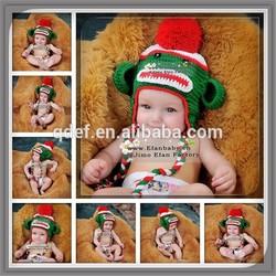 Green Monkey Inspired Child's Animal Hat Pattern,Knitted Children Cotton Winter Fall Animal Pattern Hat