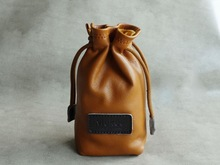 High Quality Drawstring Sheepskin Leather Camera Bag