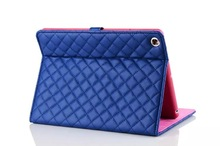 Luxury diamond crystal quilted stand leather magnetic case cover for apple ipad