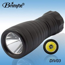 Brinyte free dive equippment twist on off switch dry battery led scuba light