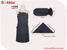 chef work full length denim bib apron set with oversleeve&scarf party dress