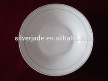 antique porcelain soup plate with double silver line
