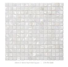 18mm*18mm Square White Seashell Bathroom Mosaic Tiles
