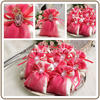 hot elegant rose red color satin drawstring nylon mesh gift bag