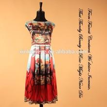 2014 Newest Runway Silk Knee-length Sleeveless Sicily Fashion Digital Printed Vintage Plus Size Casual Summer Dress For Women