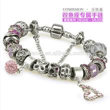 bracelets silver plated charm bracelet & brand high quality european charm beads bracelet