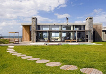 Uruguay new modern stone and wood villa/ luxury steel and glass house