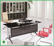 modern glass steel office desk,low price office table design in foshan