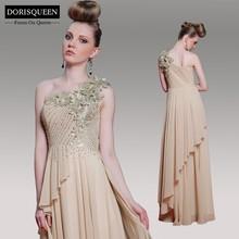 DORISQUEEN wholesale in stocks beaded 2014 new arrival one shoulder floor length sexy long elegant haute couture evening dresses