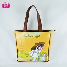 Zipper opening PU handle sexy lady printing handbag promotional