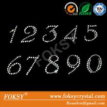 Shiny number sew on crystal rhinestone