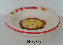 American pottery style popcorn ceramic dinner plates
