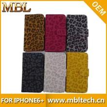 PLUS010 Leopard Diamond PU Leather Wallet Flip Case For Ip6 Plus