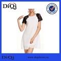 Oem barato Casual contraste branco Lace manga curta linha reta vestido Chiffon mulheres