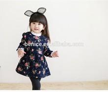 Lovely girl flower long sleeve girl dress 3 year old girl dress