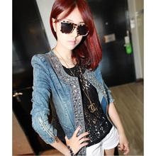 Denim Jackets xl,xxl Outwear Jeans Coat Classical Women Fashion Jean coats rivets Jacket plus size jeans