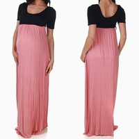 2015 black pink colorblock korean style maternity maxi dress