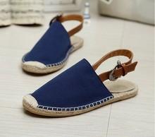 2015 new designer mens lace-up flats espadrlles shoes factory direct retail high quality men's canvas jute sole shoes