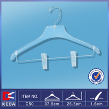 two clips clothes plastic suit hanger with bar